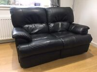 x2 Black Leather 2 Seater Recliner Sofas £300 - Excellent condition