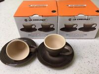 Le Creuset Stoneware 2 Sets of 2 Espresso Cups and Saucers (Brown)