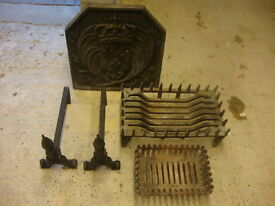 Fire Furniture - Victorian Fire back, Fire dogs and 2 x Fire Baskets
