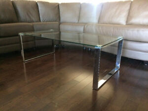 Contemporary glass and chrome coffee table