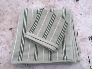 BRAND NEW in package SAGE Green Stripe Cotton Bath TOWEL SET Uleybury Playford Area Preview