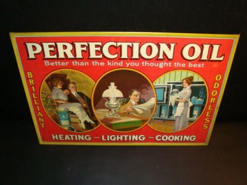 Circa 1920s Perfection Oil Tin-Over-Cardboard