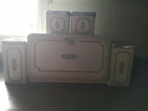 Vintage Bread box and canister set