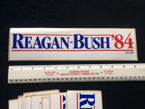 1984 RONALD REAGAN For President Campaign BUMPER STICKER Original George HW Bush