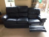 LEATHER 3 SEATER AND 2 SEATER NAVY BLUE SOFAS.