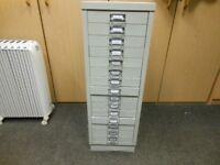 15 drawer solid metal tool storage unit. 35 ins tall x 16.5 ins deep x 12 ins wide. vgc