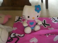 HELLO KITTY BEDDING. SOFT TOYS, PYJAMA CASE, DRESSING GOWN, DOLL, BOOKS, CDs