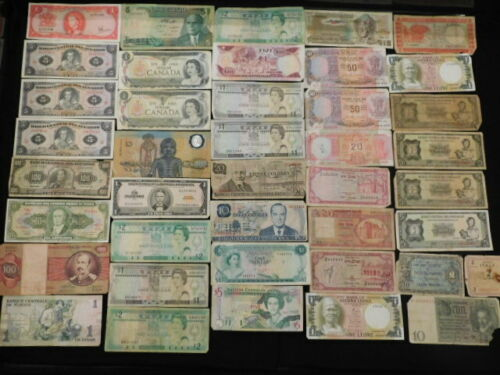 WORLD CURRENCY LOT OF  105 NOTES CIRCULATED TO CRISP UNC.