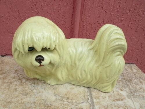 Vintage Lifelike Realistic Maltese Dog Statue