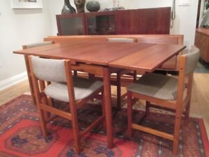 Small MCM Teak Dining Table and 4 chairs
