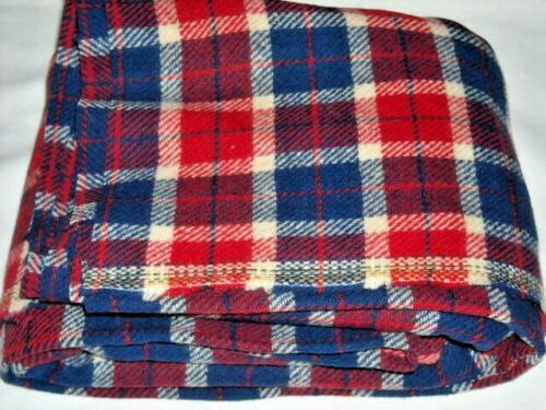 """Vintage Wool Red White & Navy Plaid Fabric 1.5 Yards x 56"""" Wide (56""""x55"""") Uncut"""
