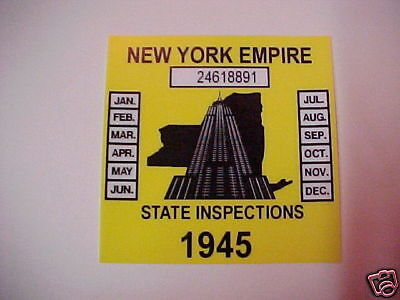 new york 1945 inspection sticker windshild