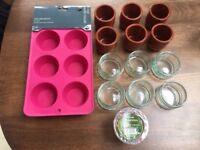 Baking items: 6 Glass ramekins, 8 Terracotta dessert pots and 2x6 muffin trays. Collect Fulham