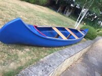 Restored Granta fibreglass 3 person open Indian canoe. 16 foot.