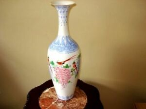 Vintage Chinese Republic eggshell porcelain TALL vases with box