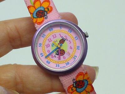 2003 Flik Flak Swiss Made Swatch Watch PINK LADYBUG Bug Children Girl