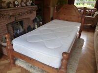 Chunky Pine Single Bed & Mattress