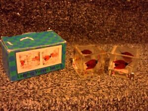 Handpainted ladybug painted glass candle votive holders Set of 2