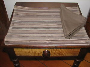 Placemats (Qty 10) & Napkins (Qty 8), Brown Stripe, Set NEW