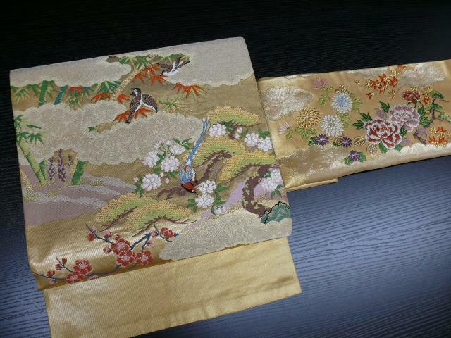 Gold Silk Japanese NAGOYA OBI w/Birds, SAKURA, Bamboo K790