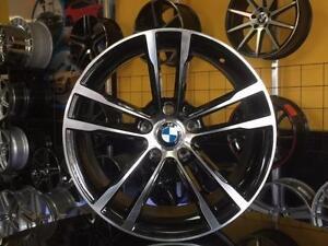 ENSEMBLE KIT MAGS ET PNEUS BMW 18'' NEUFS RÉPLIQUE DE BMW NOIR / FACE MACHINÉ ***EN STOCK***