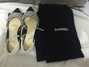 USED Chanel Pearl flat . 100% AUTHENTIC . Chester Hill Bankstown Area Preview