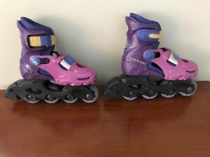 Girls Adjustable Inline Skates Roller Blades W/ Knee/Elbow Pads