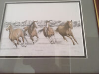 Pencil work of Mustangs 'Running Free'