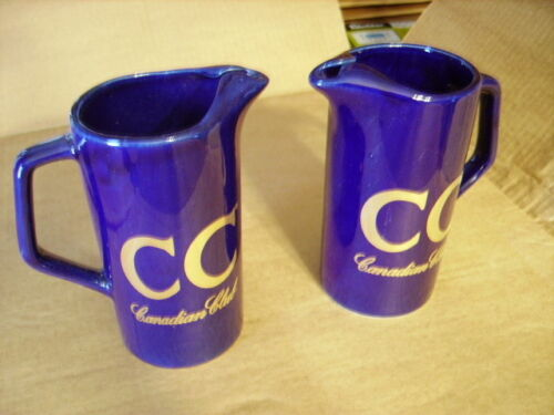 Canadian Club Blue Whiskey Water Pitchers Ceramic - New Old Stock - Still In Box