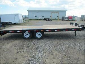 "PJ TRAILERS *** 102""x20' *** 14K Deckover with slide out ramps"