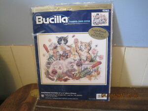 Various Kits of Bucilla, Stamped, x-stitch & 1 kit of crewel