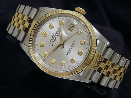 $2325.00 - Mens Rolex Datejust Stainless Steel & 18K Yellow Gold Watch Silver Diamond 16013