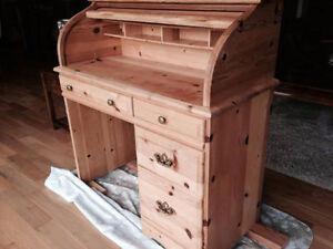 solid wooden pine rolltop secretary desk new London Ontario image 2