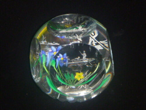 """Caithness Scotland Whitefriars Ltd Ed 43/100 """"Punting on the River"""" Paperweight"""