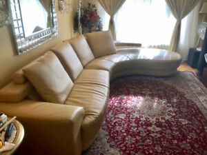 Beautiful modern sectional sofa, gold colour