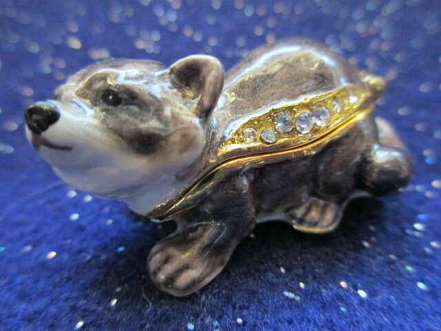 DANIEL  ~ THE BABY  RACCOON  ~JEWELED & ENAMEL TRINKET BOX ~  MINIATURE #61174