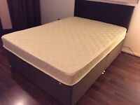 Double Divan Bed with Orthopaedic Spring Memory Foam Mattress and Headboard