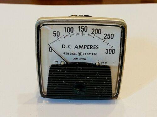 GE DC Amperes 0-300 External Shunt Panel Meter DW-91 General Electric