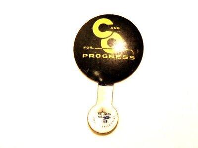 "vintage metal collar tab style pin ""C and O for Progress"""