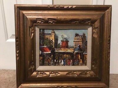Vintage Original Luini Oil Painting Canvas Moulin Rouge Paris Cityscape Framed