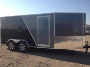 2017 CJay 7x14 Enclosed with Aluminum Wheels (Grey/Black) - 3885