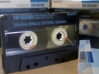 9x 1980s SONY TYPE 1&2 NORMAL CHROME CASSETTE TAPES. UX-ES90, HF-ES90, HF-S60/90, AHF\ BHF\CHF60/90.