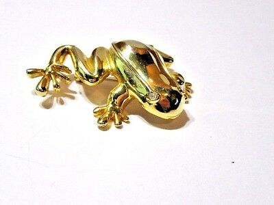 Pin Large Gold Tone Metal Plated Bullfrog Figural Pin Shiny Finish Brooch Frog