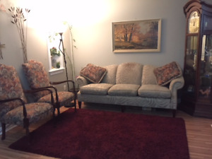 Matching sofa with two single chairs plus two ottoman