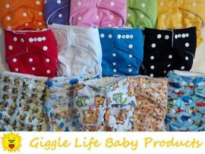 Giggle Life Cloth Diapers - Reuseable Baby 7-36 lbs Adjustable One Size, Microfiber, Suede, Bamboo, Youth & Adult Sizes