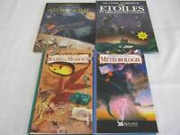 Livres sur la météorologies, roches & minéraux, astronomie