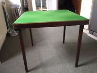 Fold Away Solid Wood Card Table with Green Felt Top. £25 ono