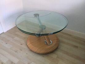 Tokyo swivel glass coffee table