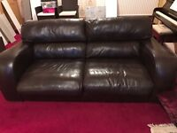 2 x Brown Leather Sofas (1 with a small hole from a cigarette - can be covered)
