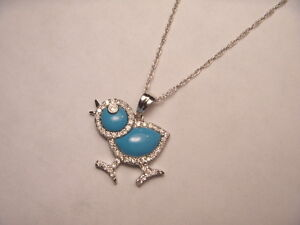 Adorable Estate 18K White Gold Diamond Turquoise Chick Duckling Pendant Necklace